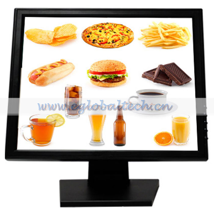 Eglobal 15inch Monitor Touch Screen for Club Restaurant, Bar, Hotel LED Display Monitor