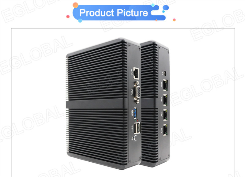 EGLOBAL Fanless Pfsense Mini PC intel celeron J1900 with 4 Gigabit LAN ports mini computer