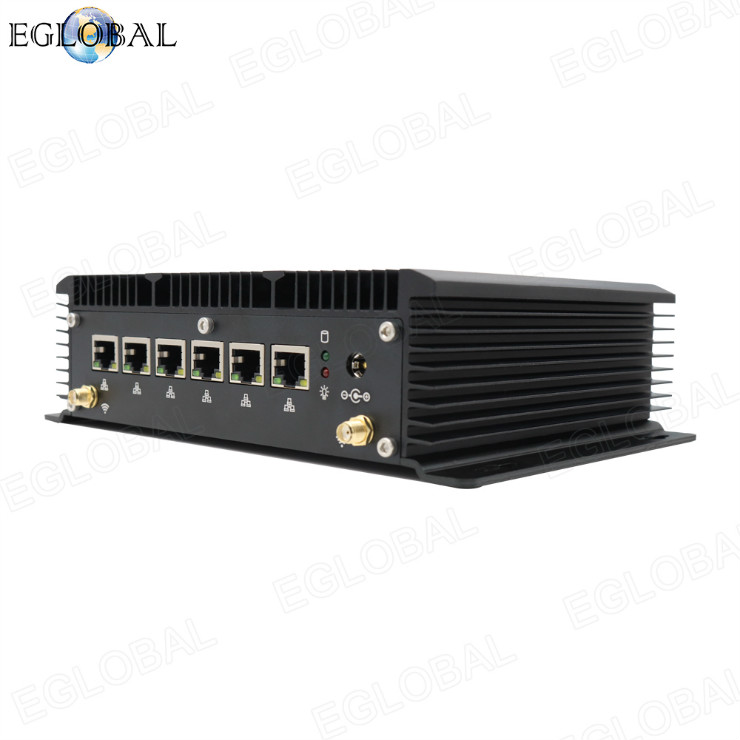 Eglobal fanless industrial mini pc computer intel core i3 7100U 6lan ports firewall Pfense router